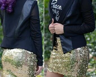 Ship 2/27* 10% OFF! Bright Gold Sequin Skirt - Stretchy, beautiful, fun mini skirt (Small, Medium, Large, XLarge). Ships asap!