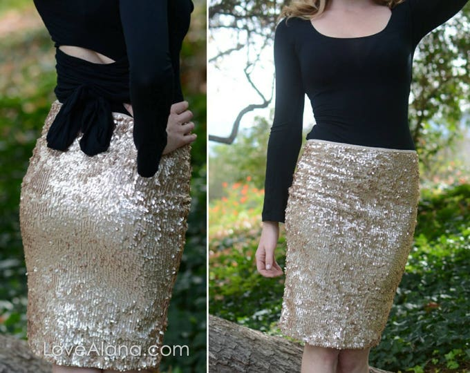 Free Shipping! Matte Champagne Pencil Skirt - Oval Sequins - Stretchy beautiful knee length (S,M,L,XL) Made in LA! Ships asap!