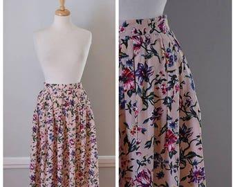 ON SALE Vintage 80s Floral Print Maxi Skirt