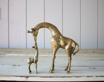 Vintage Brass Giraffe Pair // Mother and Baby