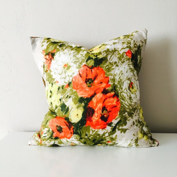 "Boho Orange Flower Pillow Cover 20""x20"" Square Cushion Pillow Vintage Bohemian Avocado Green Floral Motif Mid Century Silk Scarf Boho Pillow"