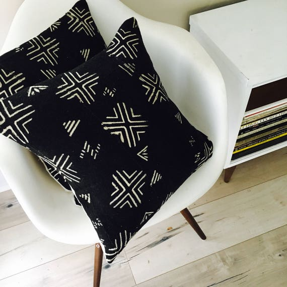 "Boho Black Tribal Pillow Cover 18""x18"" Square Cushion Pillow Ethnic Bohemian African Geometric Motif Black White MudCloth Boho Pillow"