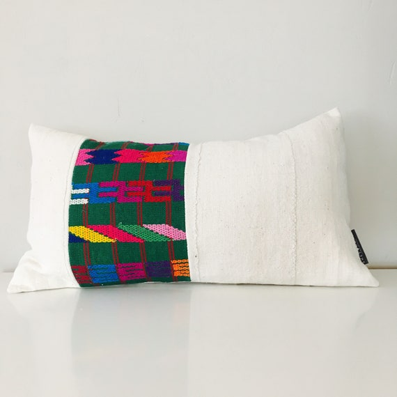 "Boho Green Tribal Pillow Cover 14""x24"" Lumbar Cushion Pillow Ethnic Bohemian Embroidered Colorful Aztec Motif White Mud Cloth"