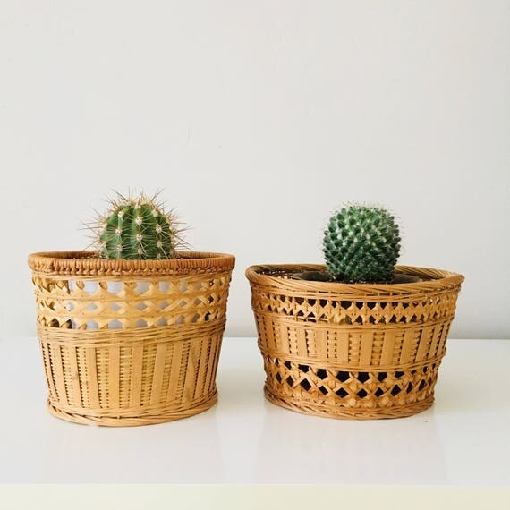 Vintage Wicker Baskets Woven Rattan Set of (2) Plant Baskets