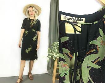 Vintage 1970s Silk Tropical Print Franck Olivier Black Dress size Small / Extra Small