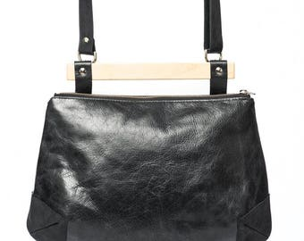 Black leather purse, black leather handbag, wood handle, wooden handle, fashion tote bag, large purse, black evening bag, handmade, upcycled