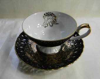Vintage Lefton China, Reticulated,  Footed, Pedestal, Black and Gold Teacup, Cherubs