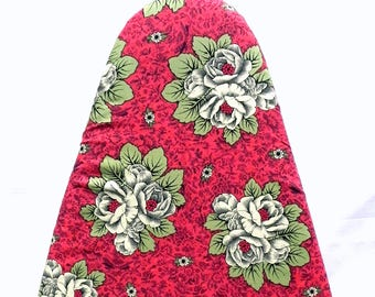 Tabletop Ironing Board Cover - Floral in red, green and cream - Provence style flowers -  Laundry and Housewares