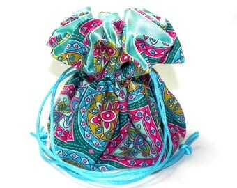 Drawstring Jewelry Bag Pouch - Jewelry organizer - Turquoise blue, teal, mustard and pink floral travel bag