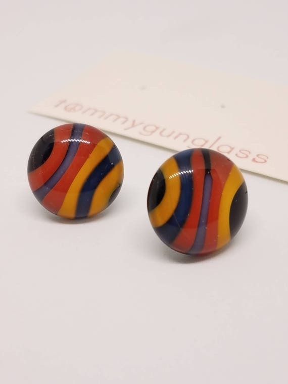 Black Striped Glass Stud Earrings
