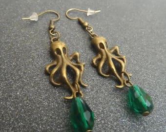 Green Kraken earring