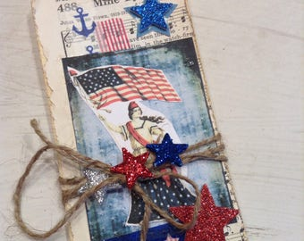 Old Glory Manilla Tags, USA, US Flag Hang Tags, Patriotic Gift Tags, Red, White and Blue, Memorial Day Tags, Independence Day Gift Tags, #5