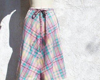 1/2 Off SALE Vintage 70s Pastel Plaid Cotton Wrap Skirt
