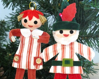 Vintage Pixie Elf Ornaments Mid Century Made in Japan