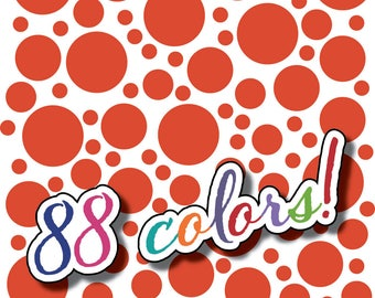 Wall Safe Vinyl Polka Dots 100 Pack and More Circles Removable Orange Red Nursery Crib Kids Kid Childs Bedroom Room