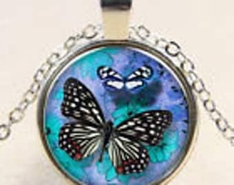 Glass Cabochon Necklace Monarch Butterflies
