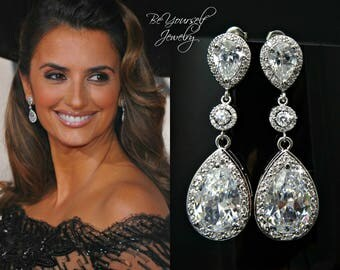 Bridal Earrings White Crystal Teardrop Bride Earrings Cubic Zirconia Wedding Jewelry Celebrity Statement Earring CZ Bridesmaid Gift Sterling