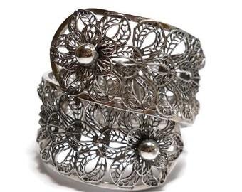 Vintage Vargas Silver Filigree Hinged Floral Clamper Bracelet