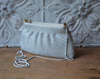 1980's Small White Metal Mesh Handbag