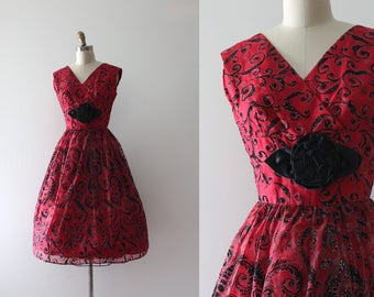vintage 1960s dress // 60s red party dress