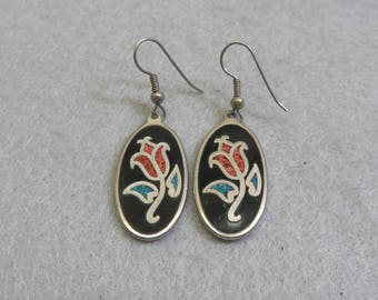 Vintage European Enamel Flower Pierced Earrings
