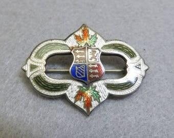 Vintage Guilloche Enamel Canadian Crest Sterling Silver Brooch