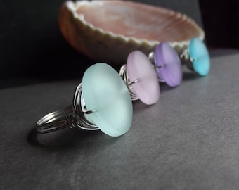RESERVED for CAROL: Sea Glass Sterling Silver Rings, Size 9.75