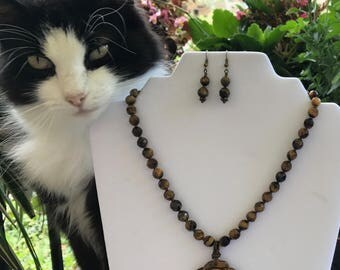 Natural Tiger Eye Necklace Set