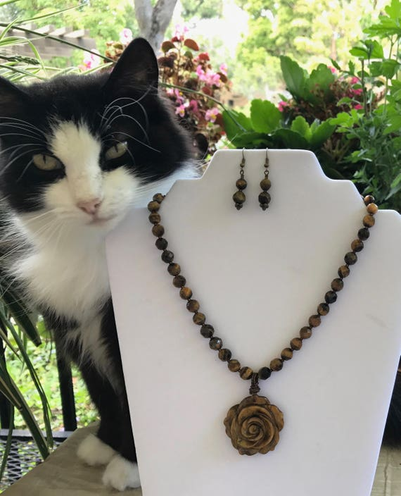 Natural Tiger Eye Necklace Set