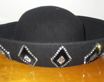 Vintage Black Hat with Rhinestone Decorations Made in USA 100 percent wool