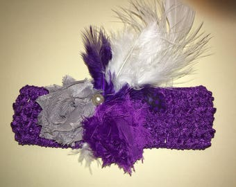 """1.5"""" standard crochet headband with 1.75"""" shabby fabric flowers, and feathers. Purple and Gray"""