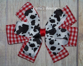 Cowgirl Hair Bow or Headband / Cow Print + Red Gingham / Cowgirl Princess / Pageant / Photo Prop / Infant / Baby / Girl / Toddler / Boutique