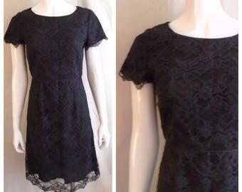 Vintage 1990s Laura Ashley LBD Black Lace Mini Dress Unworn Small