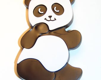 Vintage AVON Panda Bear Pin 1973 Plastic Collectible Jewelry