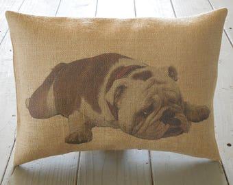 English Bulldog Burlap Pillow, Dog Decor, Dog Lover Gift, Shabby Chic, INSERT INCLUDED