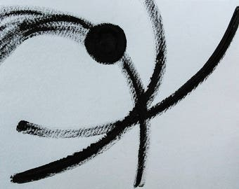 Dancer Black Ink Brush Painting White Paper Abstract Expressionist Minimalist Minimalism Free Spirit Balance Movement