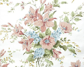 Retro Wallpaper by the Yard 70s Vintage Wallpaper - 1970s Floral Wallpaper with Peach and Blue Flowers on White