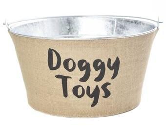 Doggy Toys Burlap Galvanized Bucket