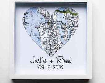 Heart Map Art, Husband Gift, Wife Gift, Unique Wedding Gift, for Couple, Where it All Began, Anniversary Gift, Engagement, Personalized Map