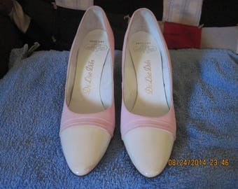 """Beautiful VINTAGE 60's/70's De Liso Debs-Pageant-Corfan Pink """"Velvet"""" and White Leather High Heel Shoes....8&1/2 AAA Wedding/Special"""
