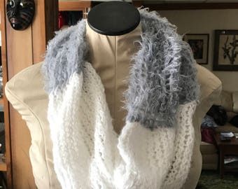 White and Gray Cowlneck Scarf