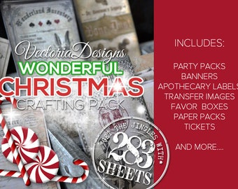 Christmas MEGA Crafting Pack - Paper Crafting Printables Christmas Party Banner Scrapbooking Collage Sheet Paper Crafting  - VDMPCM1515