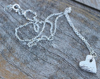 Fine Silver Textured Heart Charm Necklace Pendant
