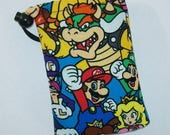 """Pipe Pouch, Nintendo Characters, Pipe Bag, Padded Pipe Pouch, Glass Pipe Case, Nerd Gift, Gamer Gift, 420, Smoke Accessory - 5"""" DRAWSTRING"""