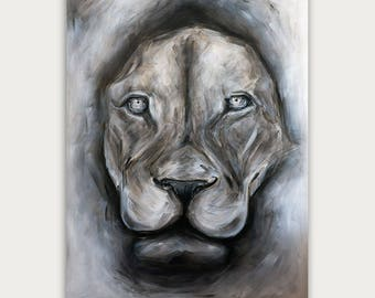 Original Lion Acrylic Painting,  Modern Animal  Art, Figurative Art On Canvas, Fine Animal Art, Home Decor