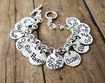 Custom Charm Bracelet - Sterling Silver Charm Bracelet - Family Charm Bracelet - Mother's Day Gift - Gift for Grandma - Personalized Gift