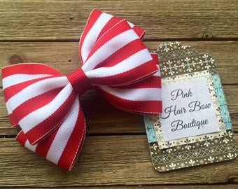 Red and white hair bow , summer hair bow , 4 inch hair bow , red and white  boutique hair bow , toddler hair bow , hair bows for girls