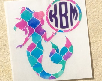 Mermaid Decal, Vinyl Decal, Monogram Decal, Monogram Mermaid Decal, Car Decal, MacBook Decal, Pattern Vinyl Decal, Mermaid Sticker