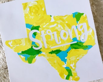Texas Decal,  Texas Strong Decal, State Decal, Decal Sticker, Vinyl Decal, Car Decal, Yeti Decal, Yellow Rose of Texas Decal