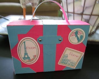 Linen Look Pink and Blue Small Suitcase set of 12